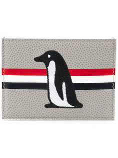 визитница с вышивкой пингвина Thom Browne