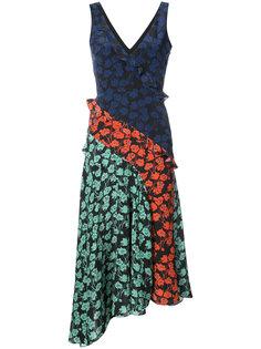 asymmetric floral midi dress Saloni