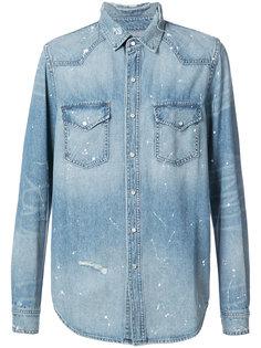 джинсовая рубашка с брызгами краски Amiri