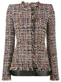 приталенный твидовый пиджак с кожаной отделкой Alexander McQueen