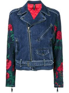 джинсовая байкерская куртка с вышивкой Adam Selman