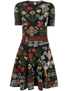 платье мини с графическим цветочным узором интарсия  Alexander McQueen