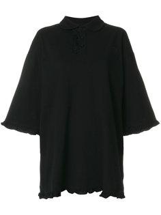 frill trim oversized polo shirt Nicopanda