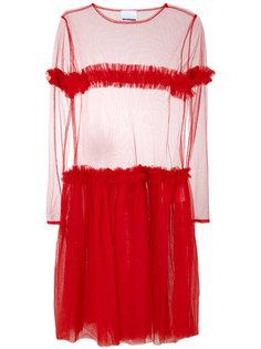 sheer panel tiered dress Nicopanda