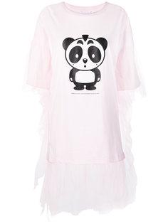 panda print tulle trim T-shirt Nicopanda