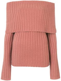 свитер в рубчик с открытыми плечами  Theory