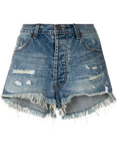 джинсовые шорты с эффектом потертости One Teaspoon