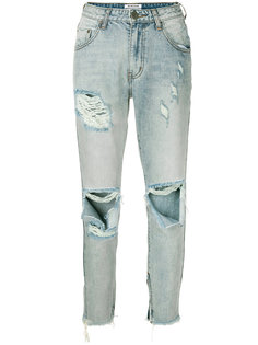 джинсы с завышенной талией с эффектом потертости One Teaspoon