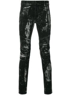 байкерские джинсы с абстрактным принтом Balmain