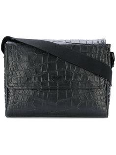 сумка-почтальонка с эффектом кожи крокодила Emporio Armani