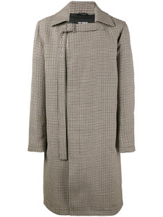 пальто с пряжкой на воротнике в ломаную клетку Raf Simons