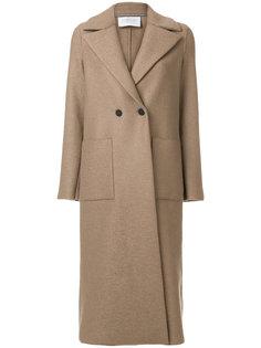 длинное двубортное пальто Harris Wharf London