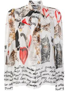 блузка с принтом котов Dolce & Gabbana