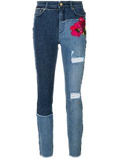 джинсы скинни с цветочной вышивкой и эффектом потертости Dolce & Gabbana