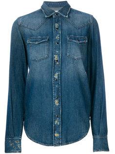джинсовая рубашка с рваными деталями Saint Laurent