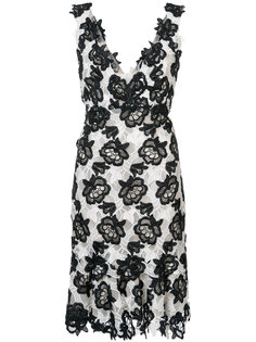 floral lace V-neck dress Monique Lhuillier