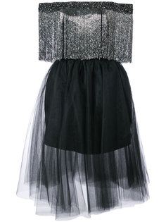 off the shouler fringed dress Monique Lhuillier