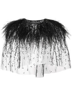 embroidered ostrich feather bolero Monique Lhuillier