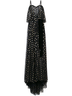 dotted overlay camisole gown Monique Lhuillier