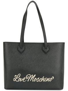 сумка-тоут с бляшкой-логотипом Love Moschino