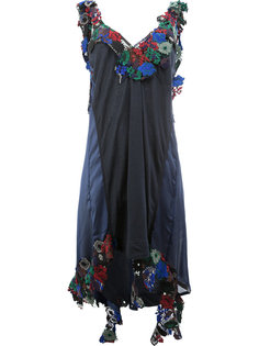 асимметричное платье с цветочной отделкой  Sacai