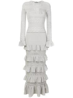 длинное платье с узором и оборками  Twin-Set