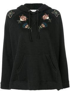 sequinned floral appliquéd hoodie Valentino