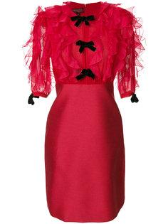 платье с рюшами на груди и рукавах Giambattista Valli