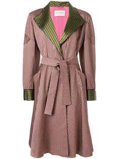 пальто в полоску с поясом  Etro