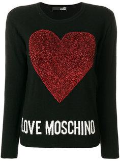 свитер с вышитым логотипом  Love Moschino