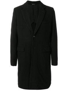 однобортное пальто с заплаткой в виде черепа Comme Des Garçons Homme Plus