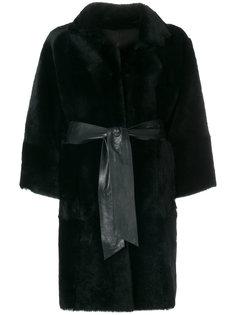 пальто с кожаной отделкой  Drome