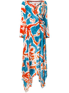 платье миди с запахом и принтом батик  Peter Pilotto