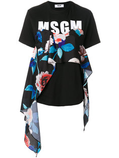 футболка с цветочным принтом и логотипом  MSGM