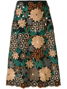 юбка миди с цветочной вышивкой  Red Valentino