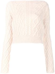 укороченный свитер с узором косы Lanvin