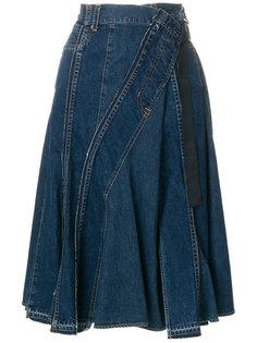 асимметричная джинсовая юбка  Sacai