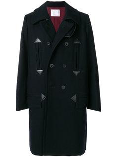 двубортное пальто Melton  Sacai