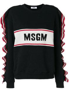 свитер с логотипом и оборками  MSGM
