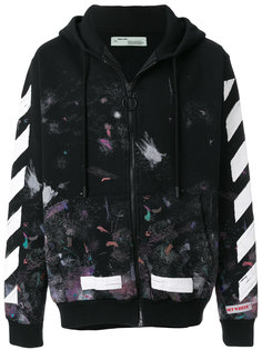 zip-up patterned hoodie Off-White