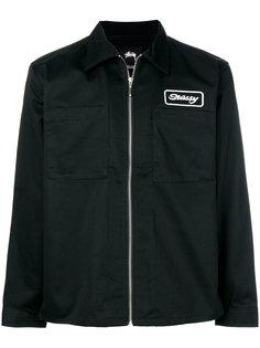 куртка на молнии с вышитым логотипом Stussy