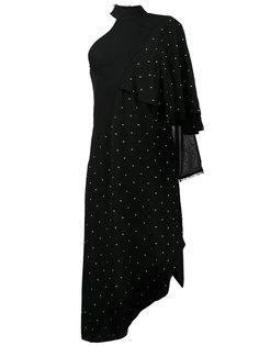 асимметричное платье с заклепками и одним рукавом  Kitx