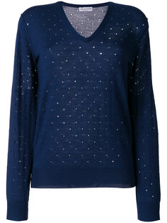 свитер с вышивкой и заплатками на локтях  Sonia Rykiel