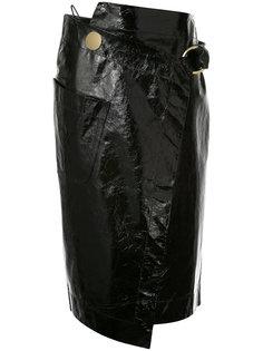 лакированная юбка с запахом Petar Petrov
