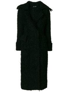 длинное пушистое пальто  Alexander McQueen