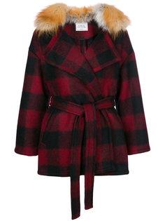 пальто в клетку с поясом  Forte Couture