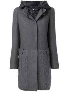 вязаное пальто с капюшоном  Fay