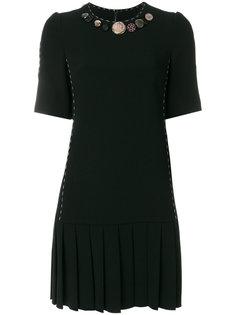 плиссированное платье с пуговицами  Dolce & Gabbana