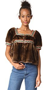 Stella Jean Faux Fur Short Sleeve Jacket