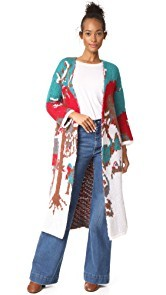 Stella Jean Intarsia Long Cardigan Coat